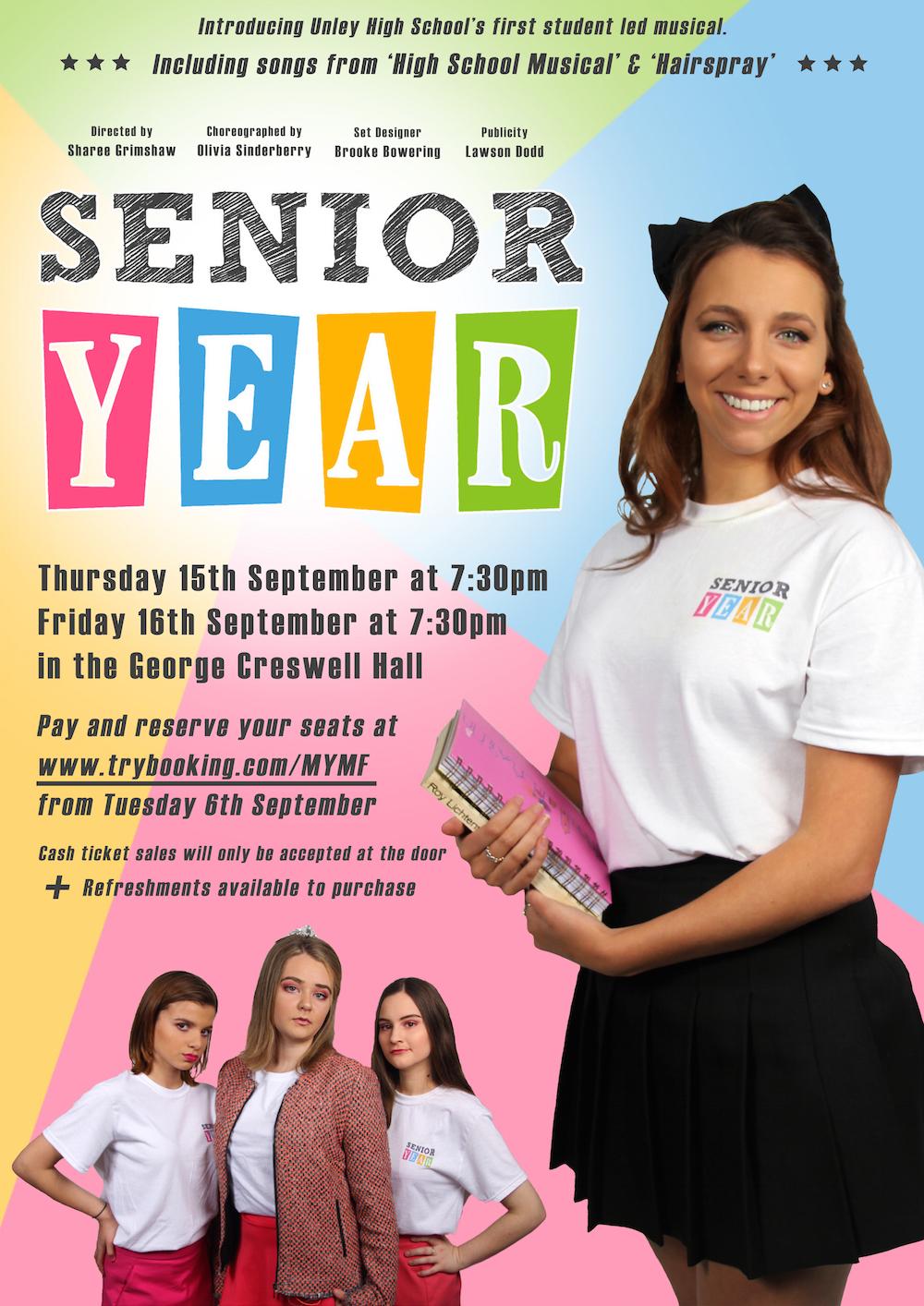 senior year the musical thurs 15 fri 16 unley high senior year poster final small